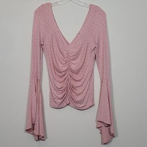Free People Long Sleeve Cinched Blouse Pink Size M